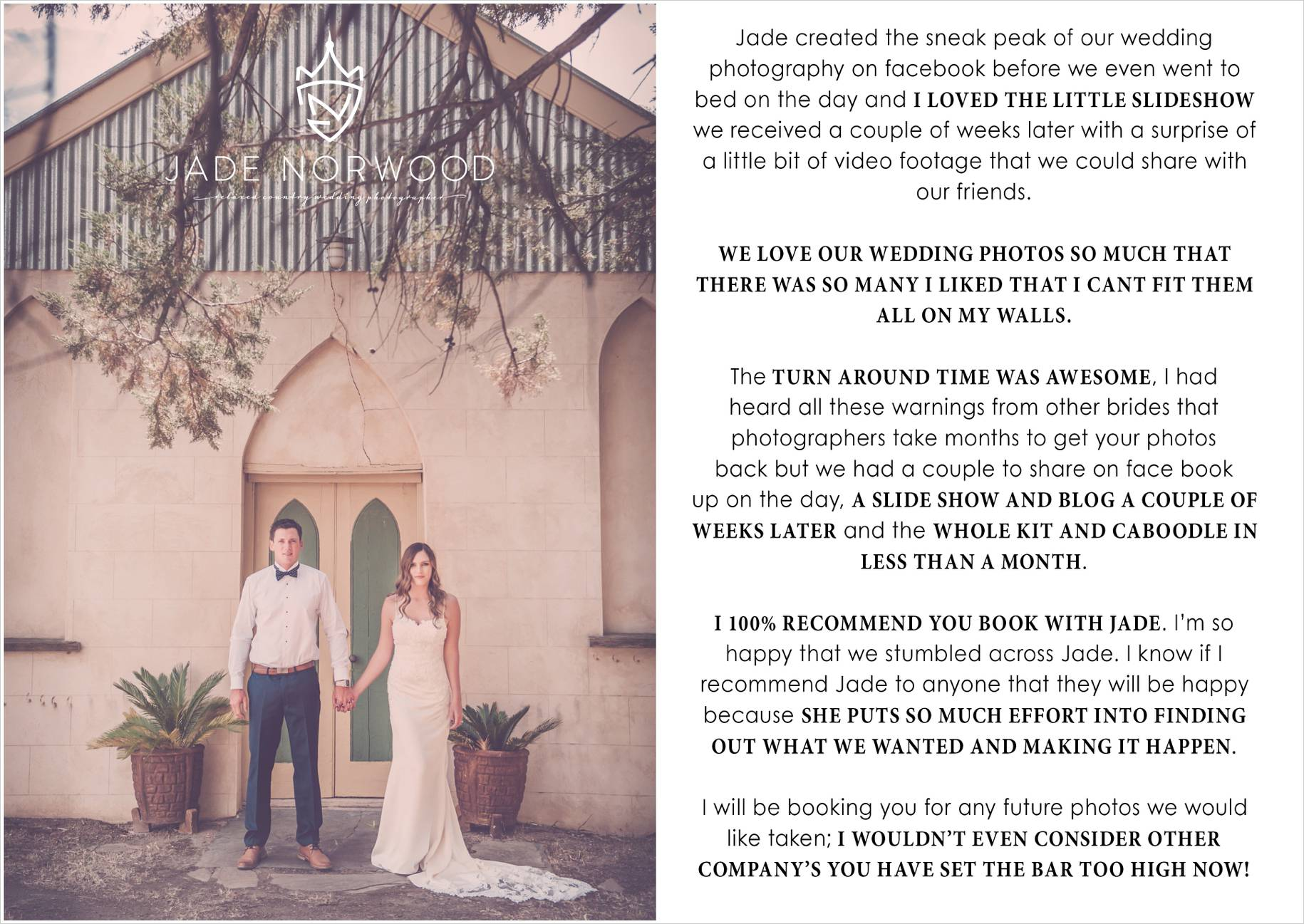 adelaide wedding photographer review ratings testimonial