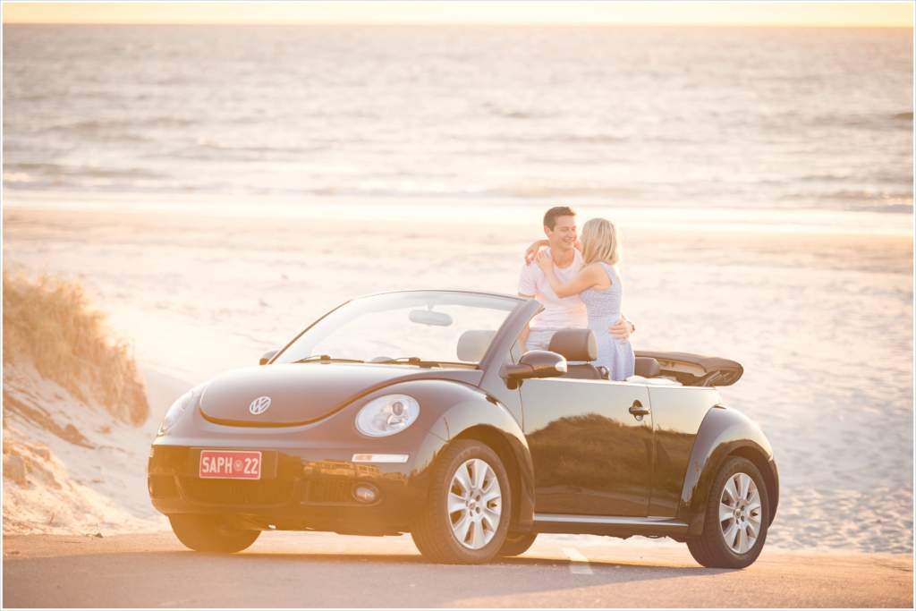 vw Beetle engagement couple photos