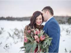 Styled engagement session in the snow